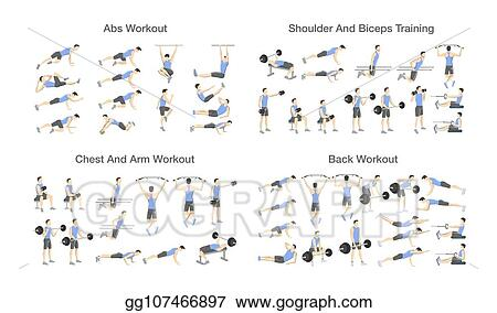 EPS Illustration - Big set of people doing exercises in the gym