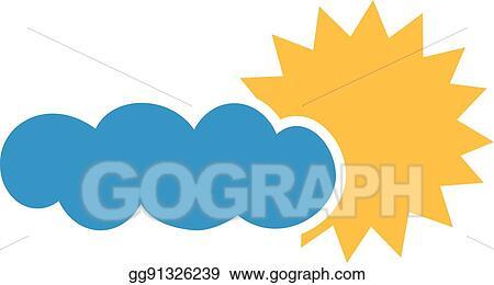 Line Art Of Sun : Vector illustration big sun and dark cloud overcast. eps clipart