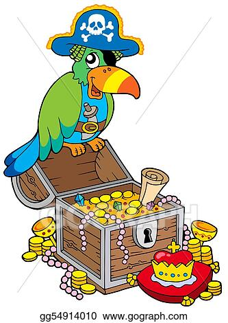 Drawing - Big treasure chest with pirate parrot. Clipart ...