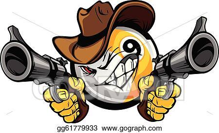 Billiards Pool Nine Ball Shootout Cartoon Cowboy
