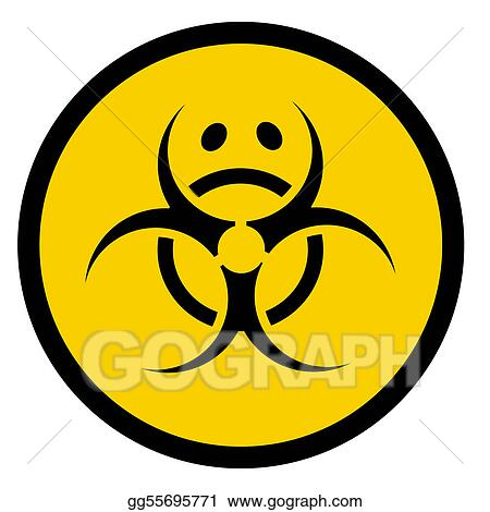Clip Art Vector Bio Hazard Symbol With Sad Face Stock Eps