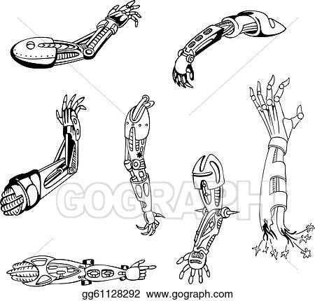 Vector Art Biomechanical Cyber Hands Clipart Drawing