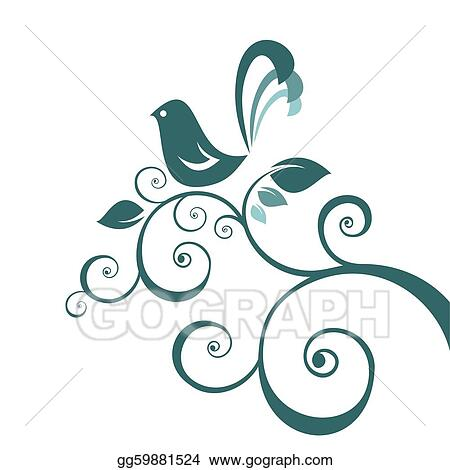 stock illustration bird and floral pattern clipart drawing