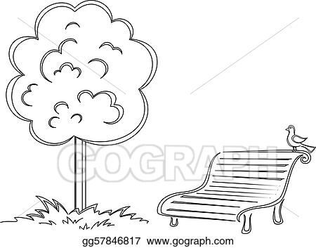 Excellent Eps Vector Bird Park Bench Tree Contours Stock Clipart Machost Co Dining Chair Design Ideas Machostcouk