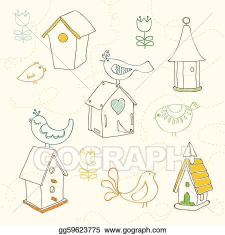 Vector Art Birds And Bird Houses Doodles For Design And