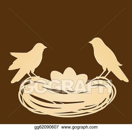 Vector Clipart Birds In Nest With Eggs Easter Car Vector