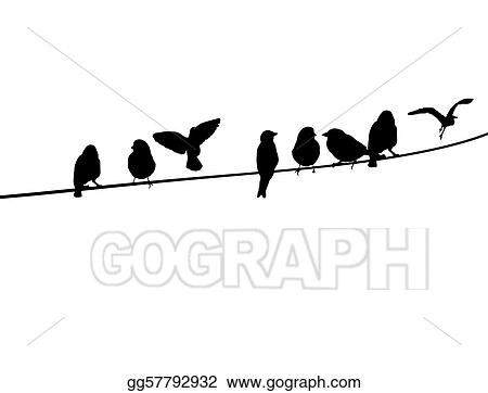 Vector Art - Birds on a telephone wire. Clipart Drawing gg57792932 ...