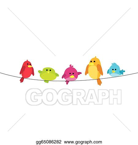 Vector Clipart - Birds on wire. Vector Illustration gg65086282 - GoGraph