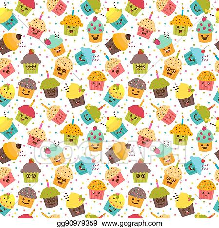 Birthday Background Kawaii Cupcakes Seamless Pattern With And Muffins Cute Cartoon Characters Emoji