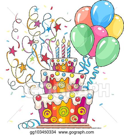 Tremendous Vector Stock Birthday Cake Balls And Greetings For Holiday Funny Birthday Cards Online Bapapcheapnameinfo