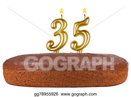 Birthday Cake Candles Number 35 Isolated