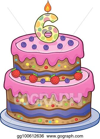 Astounding Vector Stock Birthday Cake Image For 6 Years Old Stock Clip Art Funny Birthday Cards Online Fluifree Goldxyz