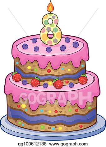 Fantastic Vector Clipart Birthday Cake Image For 8 Years Old Vector Birthday Cards Printable Inklcafe Filternl