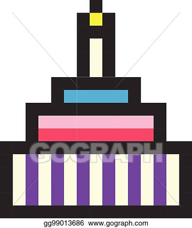 Vector Art Birthday Cake Pixel Art Cartoon Retro Game