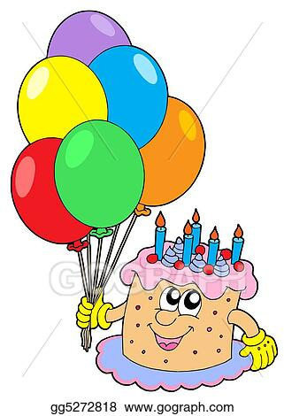 Drawings Birthday Cake With Balloons Stock Illustration Gg5272818