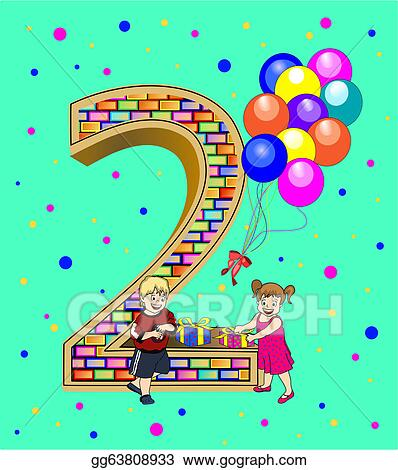 Clip Art Vector Birthday Card For A Two Year Old Stock Eps