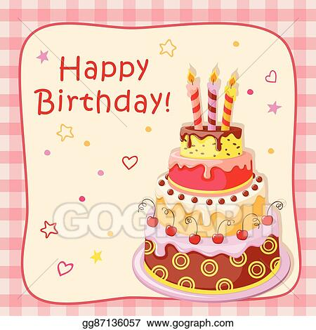 Amazing Clip Art Vector Birthday Card With Cake Tier Candles Cherry Funny Birthday Cards Online Inifofree Goldxyz