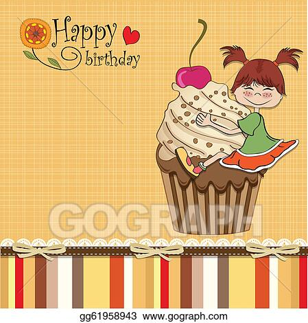 Vector Illustration Birthday Card With Funny Girl Eps Clipart