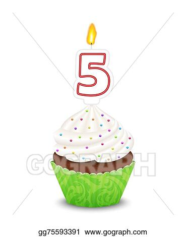Vector Art Birthday Cupcake With Candle In Shape Of Number Five