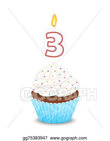 Vector Art Birthday Cupcake With Candle In Shape Of Number Three