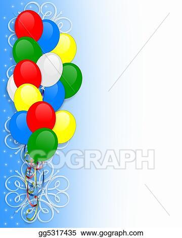 Stock illustrations birthday invitation balloons border stock birthday invitation balloons border filmwisefo