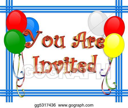 Stock Illustrations Birthday Invitation Balloons Border