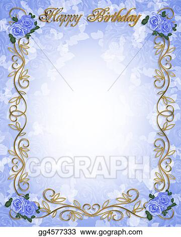 stock illustration birthday invitation blue roses clipart