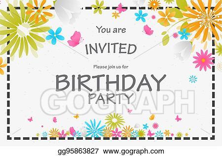 Stock Illustration Birthday Invitation Card With Beautiful Flower