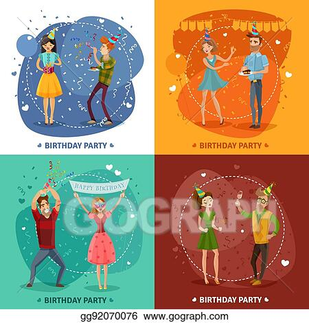 Vector Illustration Birthday Party 4 Icons Square Composition Eps