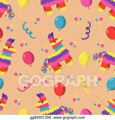 Vector Illustration Birthday party seamless pattern with colorful