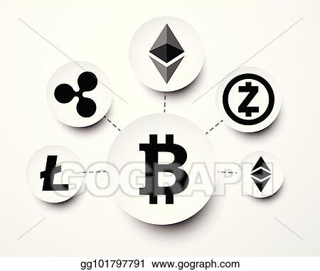cryptocurrency symbols on dollar