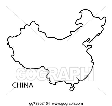 vector art black abstract map of china clipart drawing City Beijing China black abstract map of china