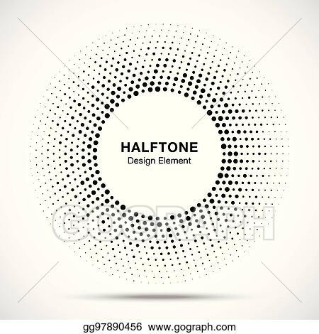 Vector Illustration - Black abstract vector circle frame halftone ...