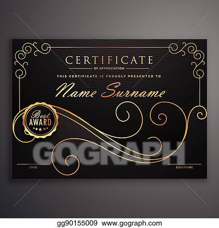 Vector Art Black And Golden Premium Certificate Template Design