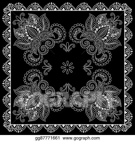 Vector Art Black And White Abstract Bandana Print With Element