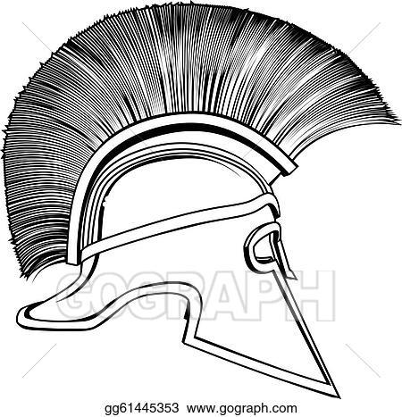 c63b7d389 Vector Stock - Black and white ancient greek warrior helmet. Clipart ...