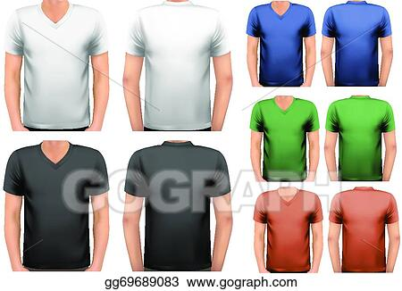 Clip Art Vector Black And White And Color Men T Shirts Design