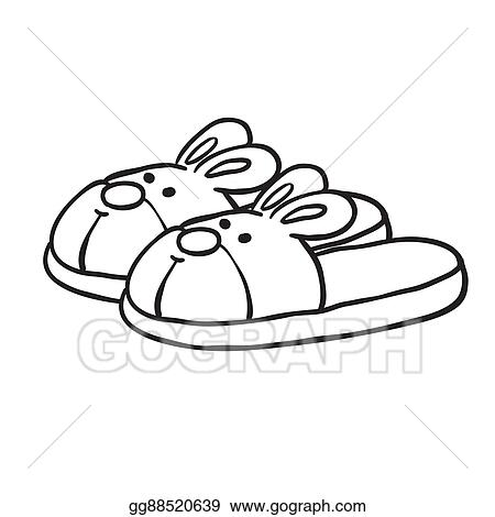 acd0dfad5 Clip Art Vector Black And White Bunny Slippers Stock Eps. Flip Flops ...