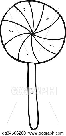 vector clipart black and white cartoon candy lollipop vector