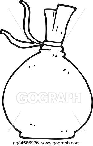 black and white cartoon christmas santa sack