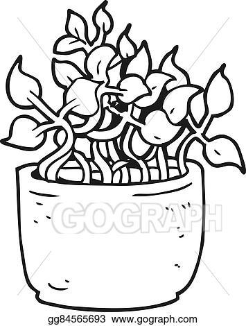 vector illustration black and white cartoon house plant eps Black and White Cartoon Pizza black and white cartoon house plant