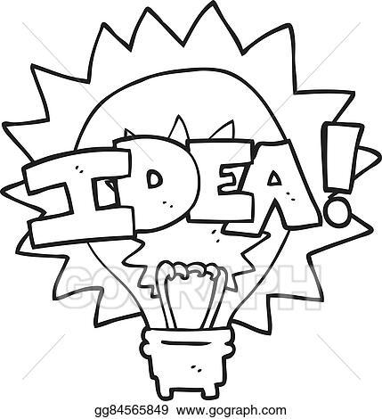 Vector Stock Black And White Cartoon Idea Light Bulb Symbol Stock