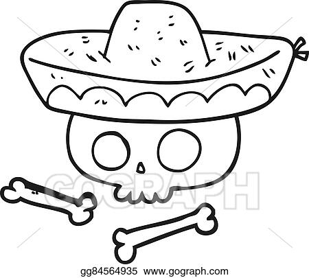 mexican food and traditional culture with a mexican hat icon cartoon in  black and white vector illustration graphic design: Royalty-free vector  graphics