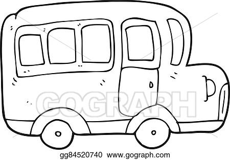 vector stock black and white cartoon yellow school bus clipart rh gograph com  clipart school bus black and white