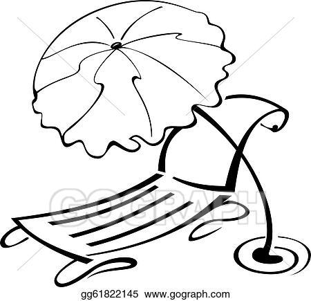 Vector Illustration Black And White Contour Umbrella And Beach