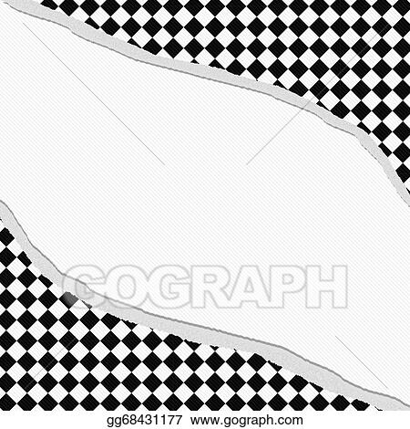 Drawing Black And White Diamond Checkered Frame With Torn