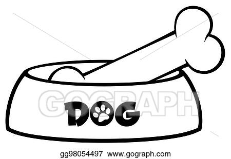 Vector Illustration - Black and white dog bowl with bone
