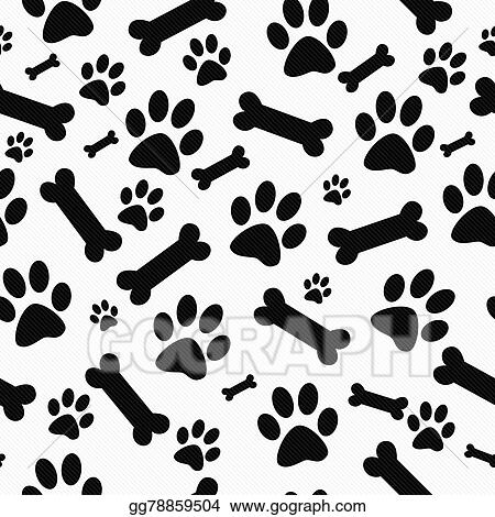 Drawing Black And White Dog Paw Prints And Bones Tile Pattern