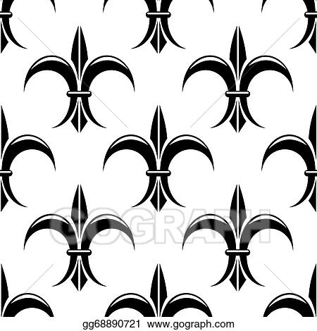 eps vector black and white fleur de lys seamless pattern stock