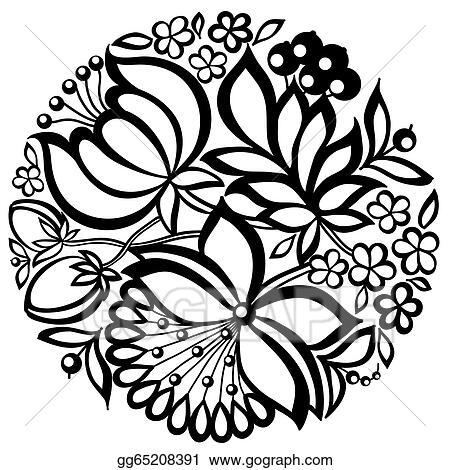 Vector art black and white floral arrangement in the shape of a black and white floral arrangement in the shape of a circle mightylinksfo